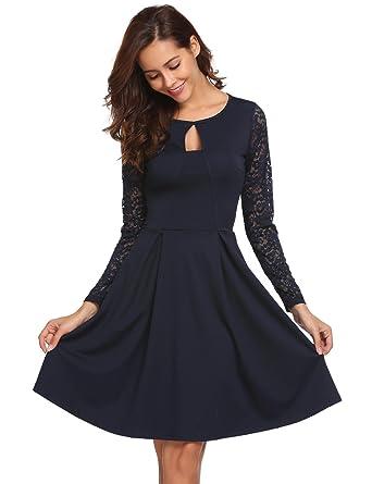 0c192d2278fbbe Beyove Damen Herbst Winter Spitze Kleid Kurze Elegante Patchwork Rundhals  Abendkleider Partykleider Brautjungfernkleid Blau XL