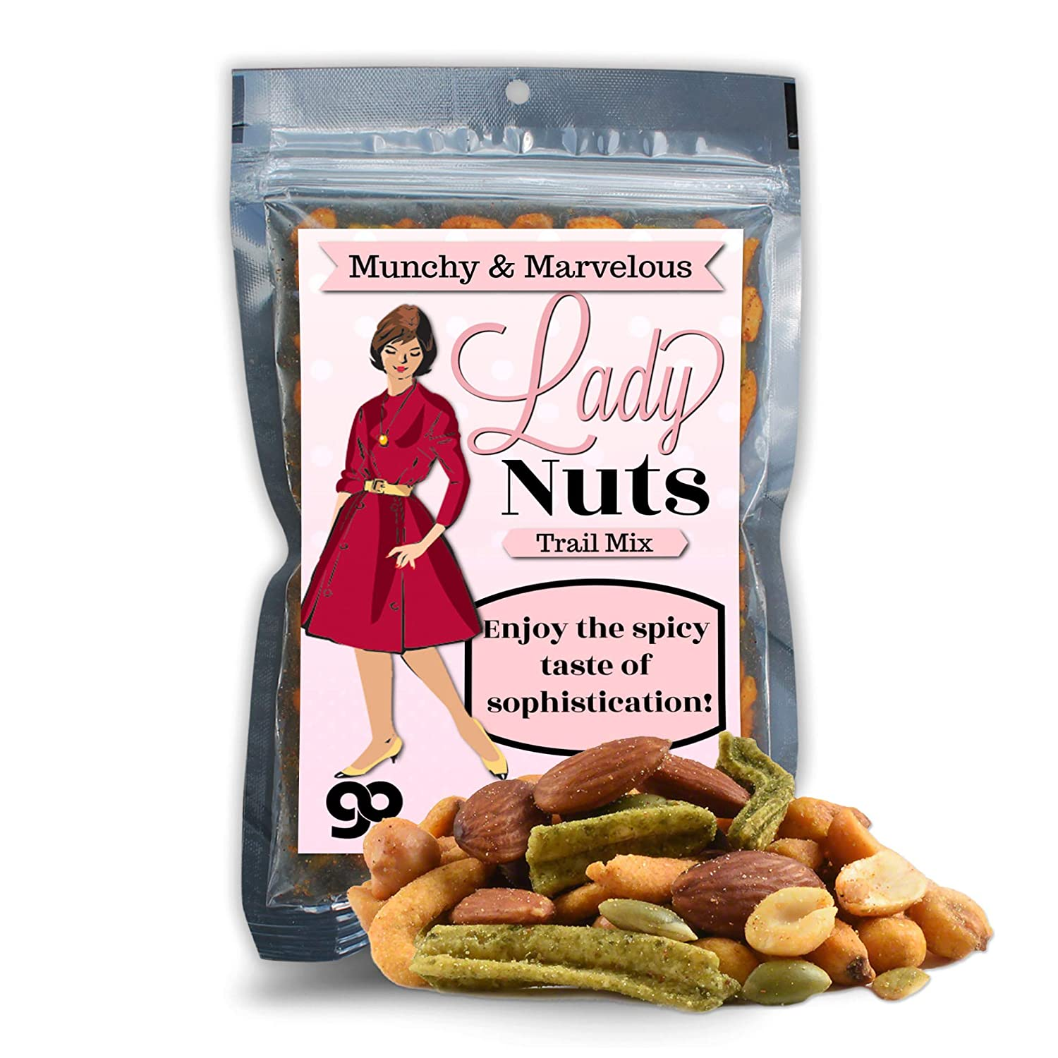 Lady Nuts Spicy Trail Mix - Funny Food Gifts for Men and Women - Premium Trail Mix, Weird Stocking Stuffer, Made in the USA