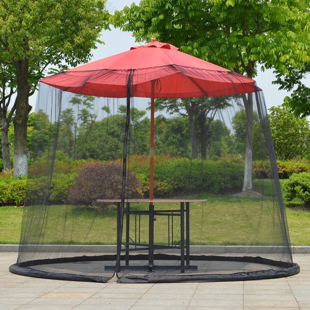 Fayeille - Cubierta de sombrilla plegable para mesa de sombrilla con cremallera, Negro , talla abierta