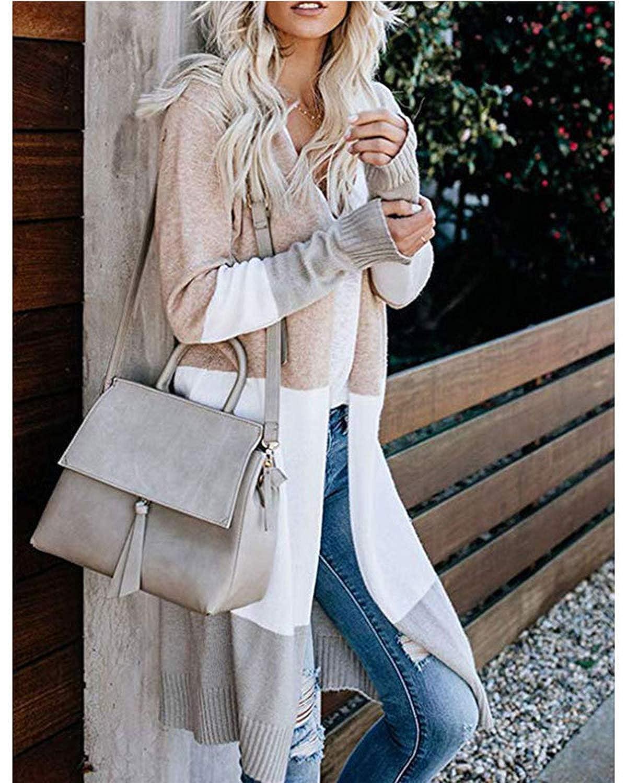 ABINGOO Donna Cardigan Lungo Autunno Cappotto Maniche Lunghe Elegante Camicetta Blocco di Colore Giacca in Cotone Golfino Casual Tops