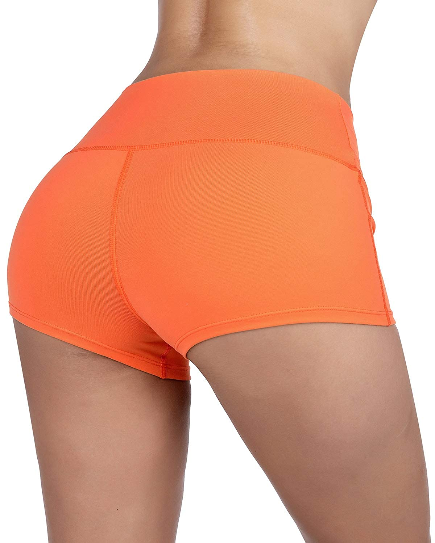 KNEEDARKYEAR Womens Stretch High Waist Athletic Yoga Shorts