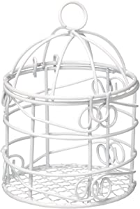 Homeford Firefly Imports Mini Metal Wire Bird Cages, White, 2-3/4-Inch, 10-Pack