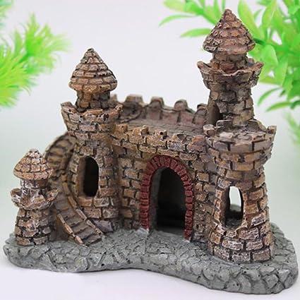EMVANV Decoración de Acuario pecera, Adorno de Resina de Dibujos Animados Castillo Torre Paisaje bajo