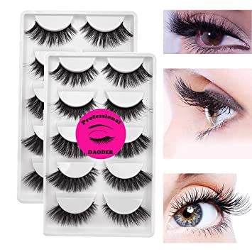 b90a62849a0 Amazon.com : DAODER 10 Pairs Different 3D Mink Eyelashes Thick Volume Lashes  Faux False Eyelashes Hand-made Reusable Dramatic Mink Lashes Strips Soft  Fake ...