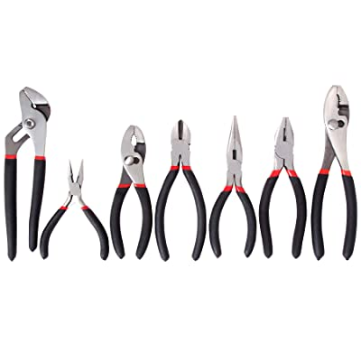 FASTPRO 7-piece Utility Pliers Set, Includes Slip Joint Pliers, Long Nose Pliers, Diagonal Pliers, Groove Joint Pliers, Linesman Pliers and Mini Long Nose Pliers, Dipped Handle