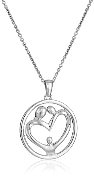 Sterling silver family pendant necklace 18 aloadofball Images