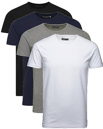 Jack and Jones Herren T-Shirt Basic V-Ausschnitt Oder Rundhals 4er Pack  Einfarbig Slim Fit in Weiß Schwarz Blau Grau inkl. Gratis Wäschenetz von  B46  ... 9814e819e7