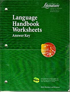 Printables Language Handbook Worksheets Answer Key Online language handbook worksheets answer key elements of literature fourth course