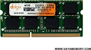 DOLGIX 4GB DDR3 PC3-10600 1333MHz Sodimm Laptop RAM Memory 204-Pin Notebook Upgrade