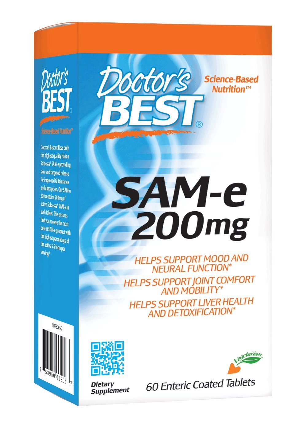 Doctor's Best SAM-e 200 mg, Vegan, Gluten Free, Soy Free, Mood & Joint Support, 60 Enteric Coated Tablets by Doctor's Best