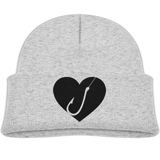 53f458b3076a9 Amazon.com  Beanie Hats Wool Knit Cap Love Fishing Hook Boys  Girl ...
