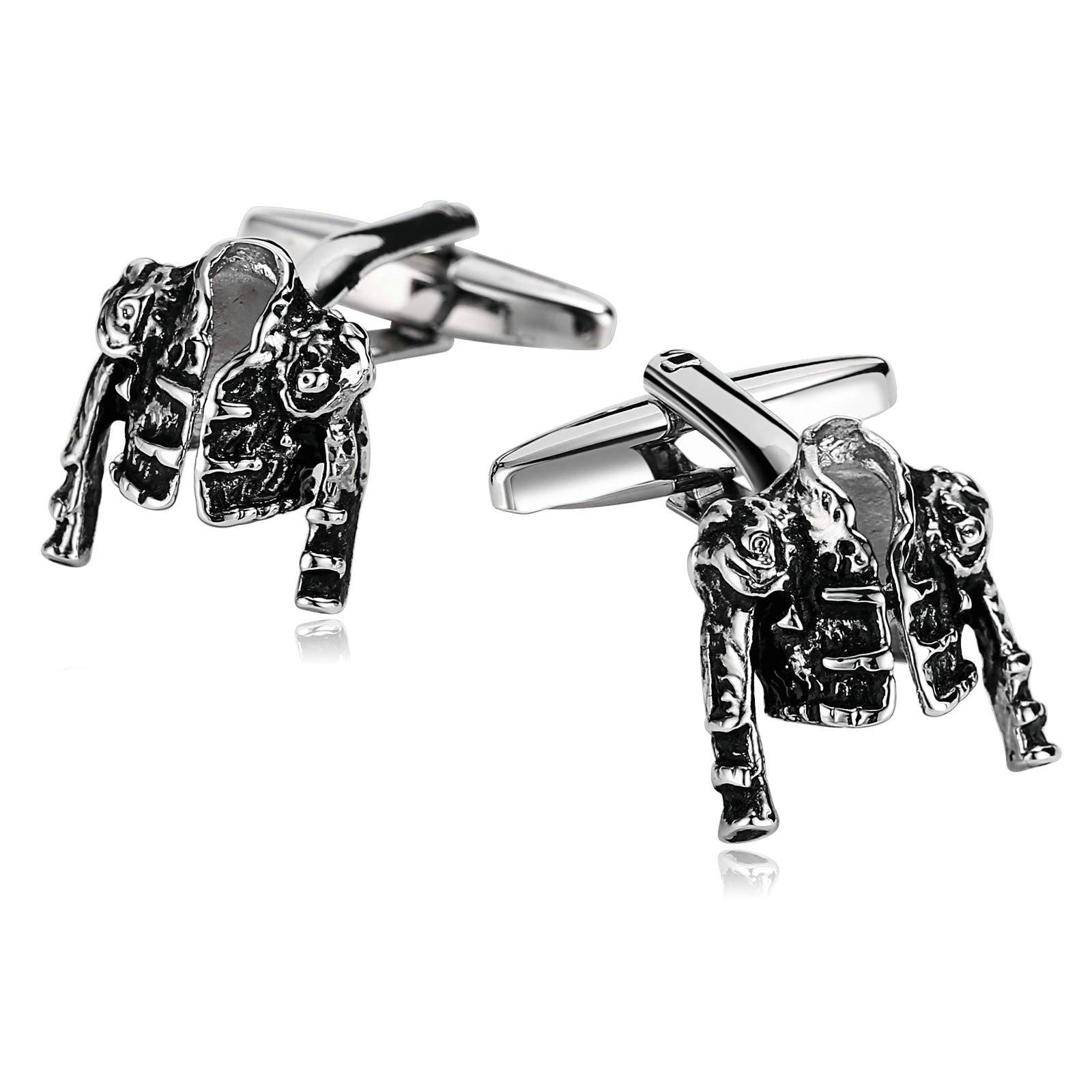 Beydodo Cufflinks for Men Unique Stainless Steel Cufflinks for Men Silver Black Jacket Vest