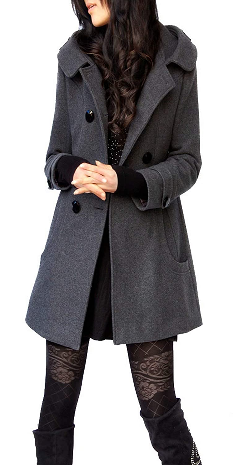 ClairSue Womens Ladies Hooded Trench Coat Outwear Warm Cotton Peacoat Jacket Overcoat