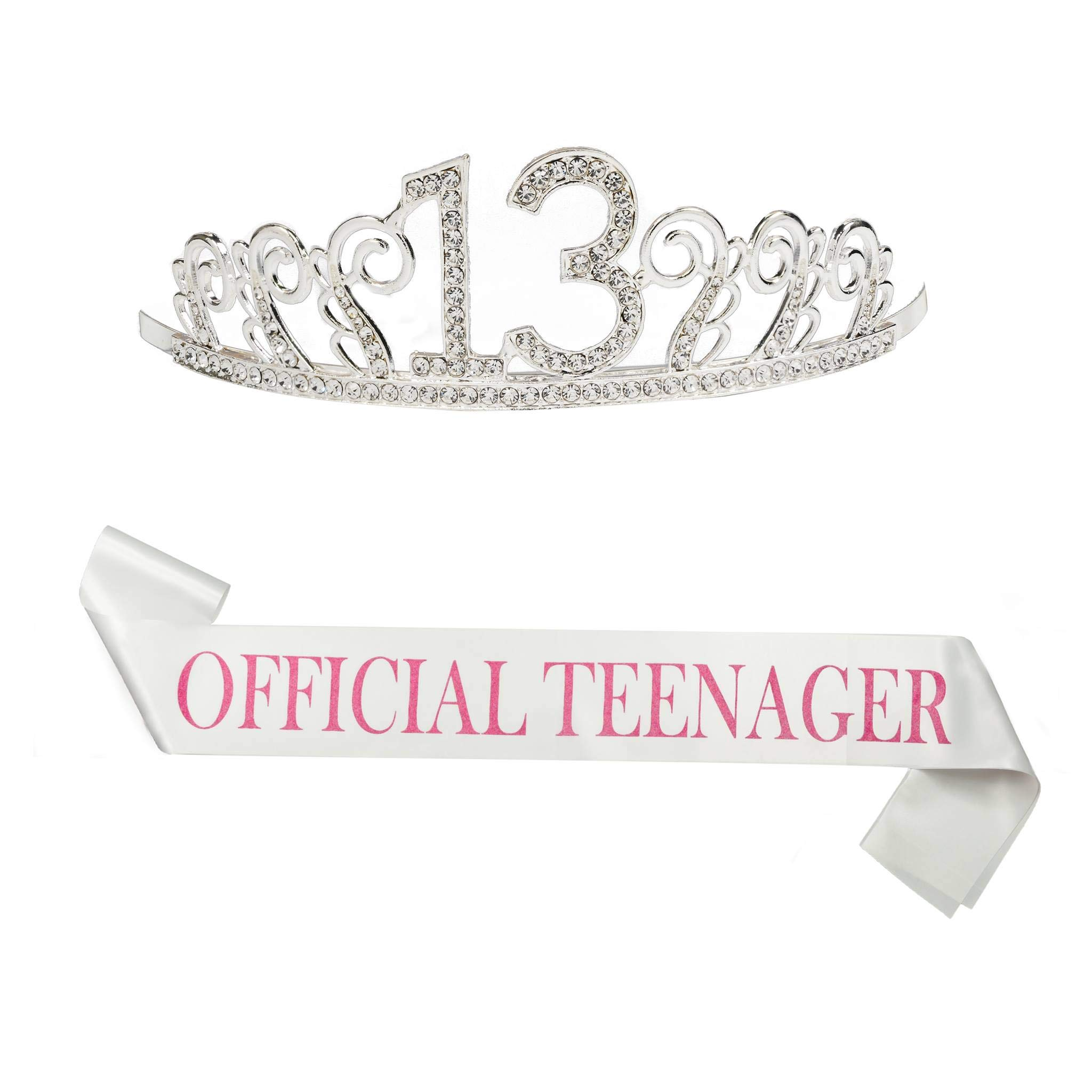 B4MBOO 13th Birthday Crown and Sash, Glitter 13 Crown With A 25 inch ''Official Teengager'' Pink Sash, Beautiful Tiara and Sash Set For 13th Birthday Party. Perfect Gift Birthday Party Supplies