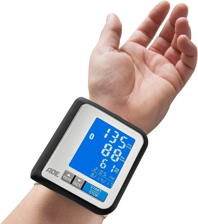 ADE Tensiómetro de muñeca digital BPM1600 compatible con App. gratuita FITvigo medición presión oscilométrica, pulso y aviso de arritmia. Display LCD