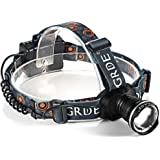 Zoomable LED Headlamp 900Lm 3 Mode Water-resistant Headlight Hands Free Work Light Outdoor Camping Torch Flashlight with Adjustable Strap Light Weight 3AA Batteries Powered(Not Included)-Black