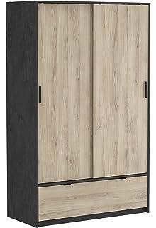 Miroytengo Armario Puertas correderas y cajones Color Blanco y Roble Cepillado 120x60x203 cm: Amazon.es: Hogar