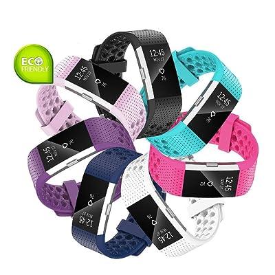 Fit-power Bracelet de rechange sport souple et réglable pour Fitbit Charge2 L Pack of 7