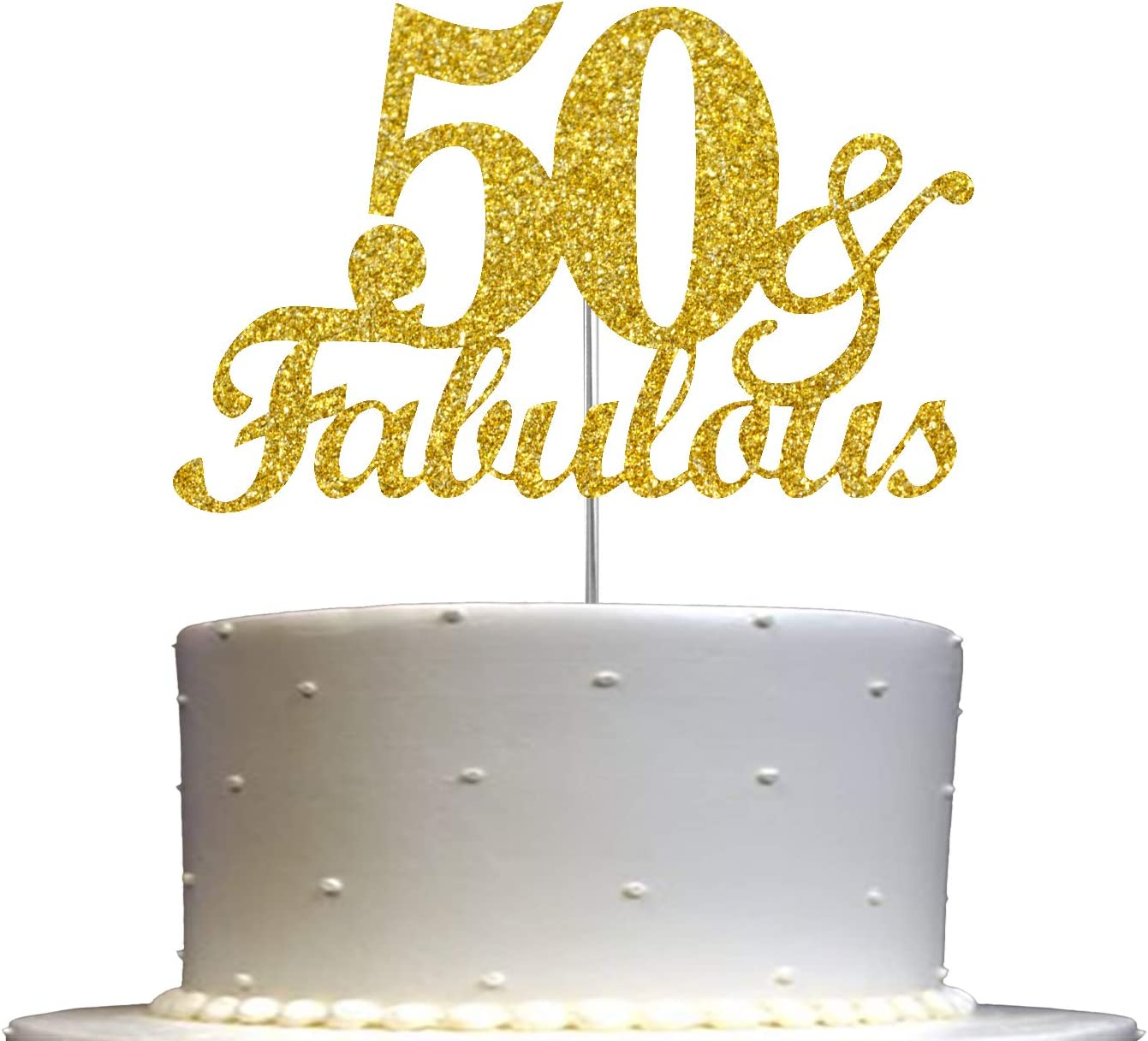 Fabulous & 50 Cake Topper Gold Glitter, 50th Birthday Party Decoration Ideas, Premium Quality, Sturdy Doubled Sided Glitter, Acrylic Stick. Made in USA
