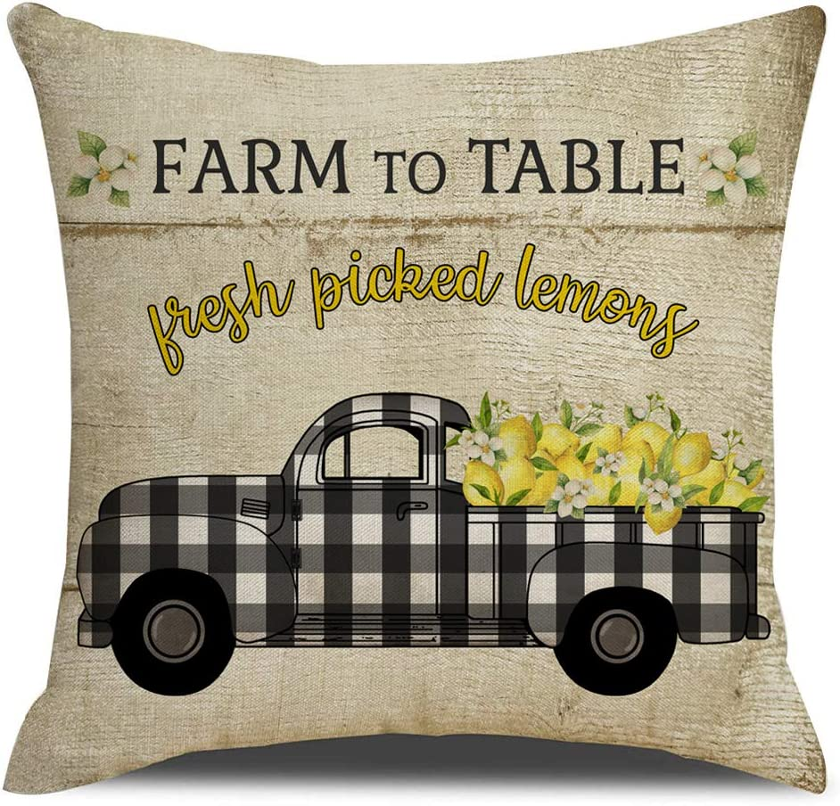 KACOPOL Retro Vintage Wood Background Farm Fresh Lemon Buffalo Check Truck Pillow Covers Summer Farmhouse Decorative Throw Pillow Case Cushion Cover 18
