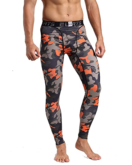 2a12ca307a405 BS Men's Running Tights Compression Sports Cool Dry Pants Baselayer Fitness  Yoga Spandex Leggings,Camo