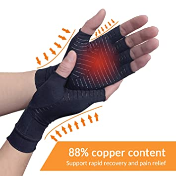 Copper Arthritis Compression Arthritis Gloves,88% Copper Content Comfortable Gloves For Pain Relief of RSI, Rheumatoid Arthritis Carpal Tunnel,Great ...
