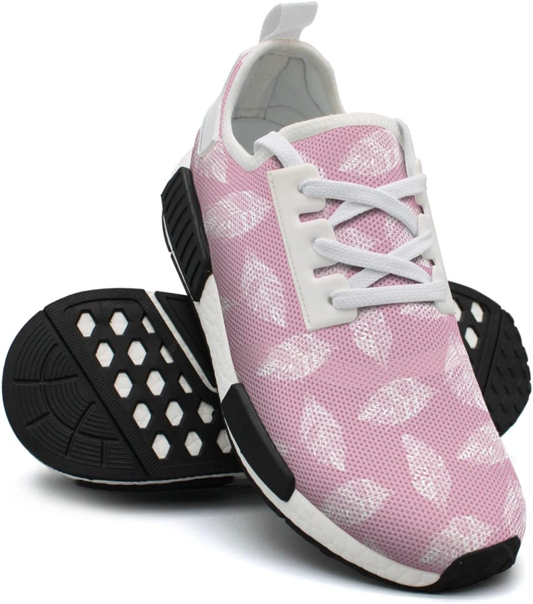 Hand Drawn Feather On Pink Womens Casual Lightweight Sneaker Gym Outdoor Running Shoes