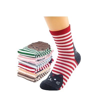 Vococal-Algodón Calcetines Calientes de Rayas de Colores Mezclados de Espesor Invierno para Mujer Chicas(Patrón de Animales Gato): Ropa y accesorios