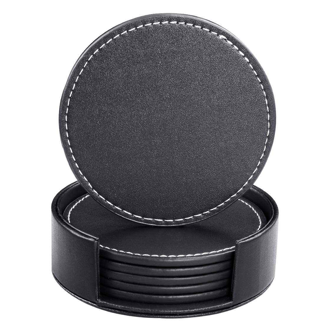 hibeer Leather Coasters for Drinks, Handmade Set of 6 PU Coaster with Holder, Protect Furniture from Water (Black, Round)