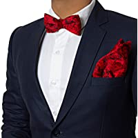 Vibhavari Men's Red Velvet Bow Tie & Pocket Square