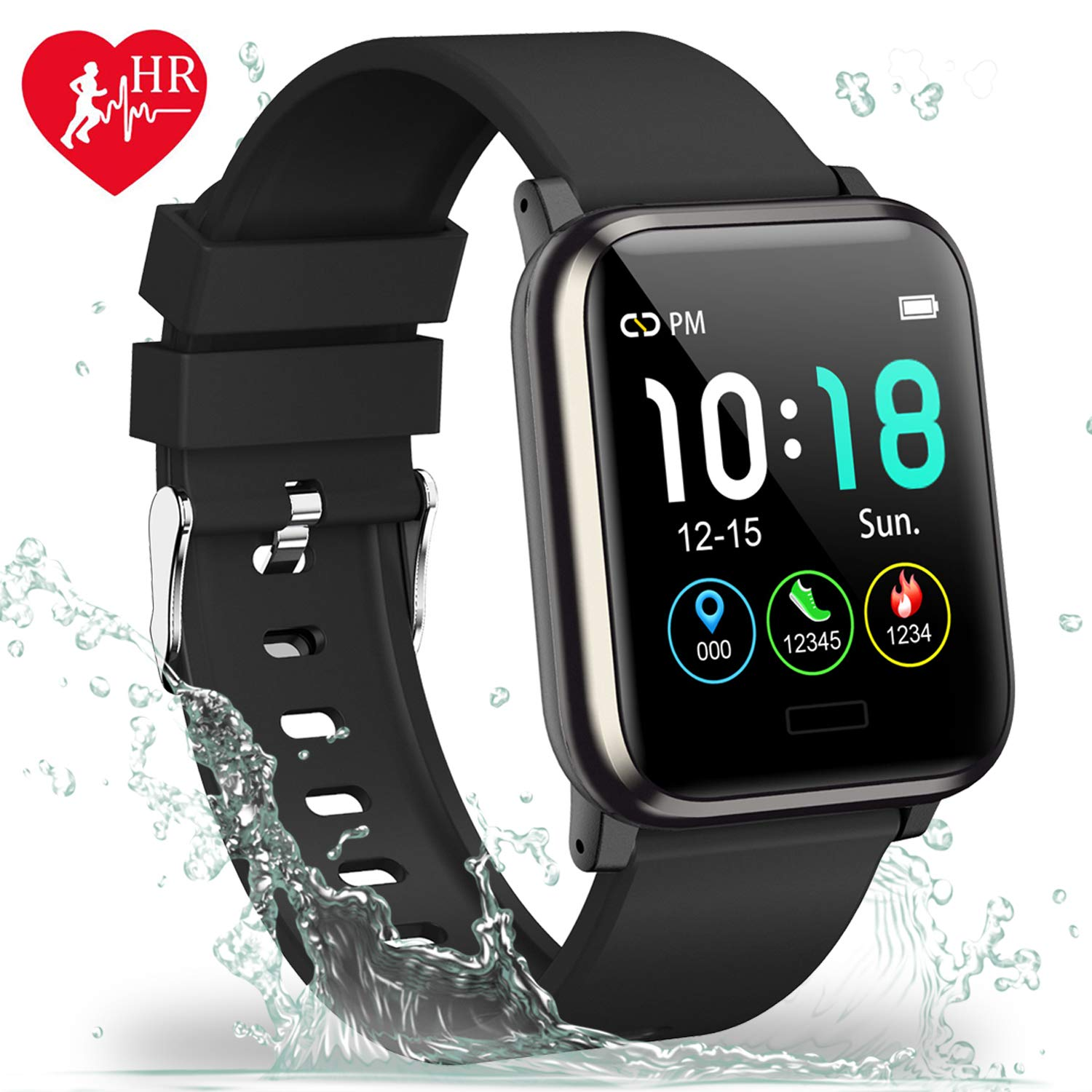L8star Fitness Tracker HR, Activity Tracker with 1.3inch IPS Color Screen Long Battery Life Smart Watch with Sleep Monitor Step Counter Calorie Counter Smart Bracelet for Women Men