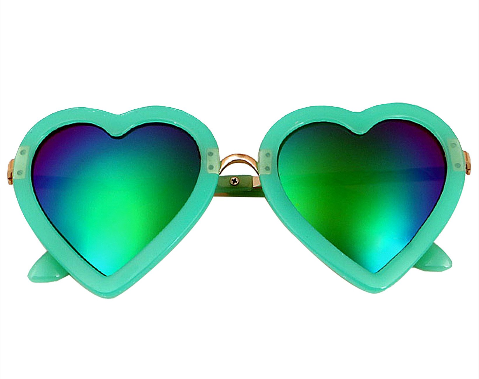 Baonmy Toddler Girls Sunglasses,100% UV Proof Polarized Heart Shaped Sunglasses for Toddler Girls Age 3-10 (Green)