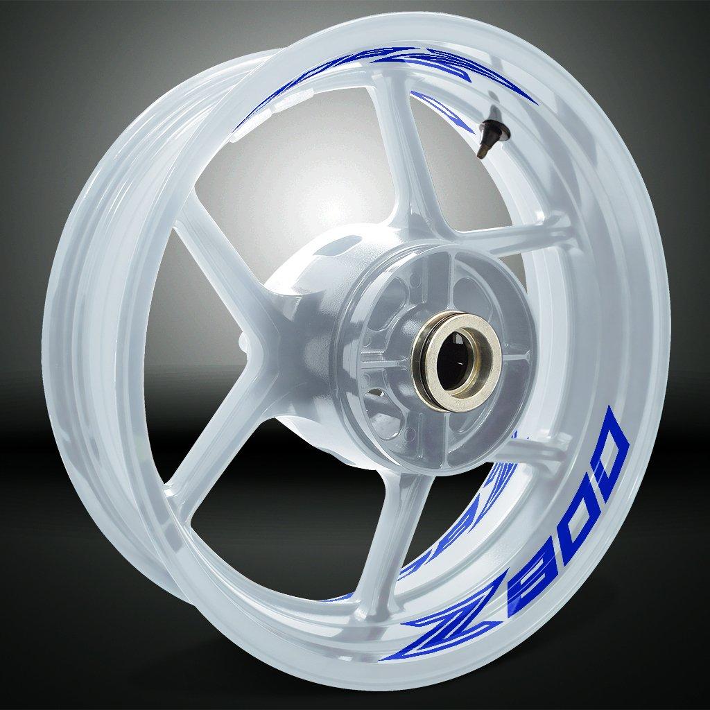 Nero Lucido Ruote Moto Cerchione Inner Rim Tape Decalcomanie Adesivi per Kawasaki Z800