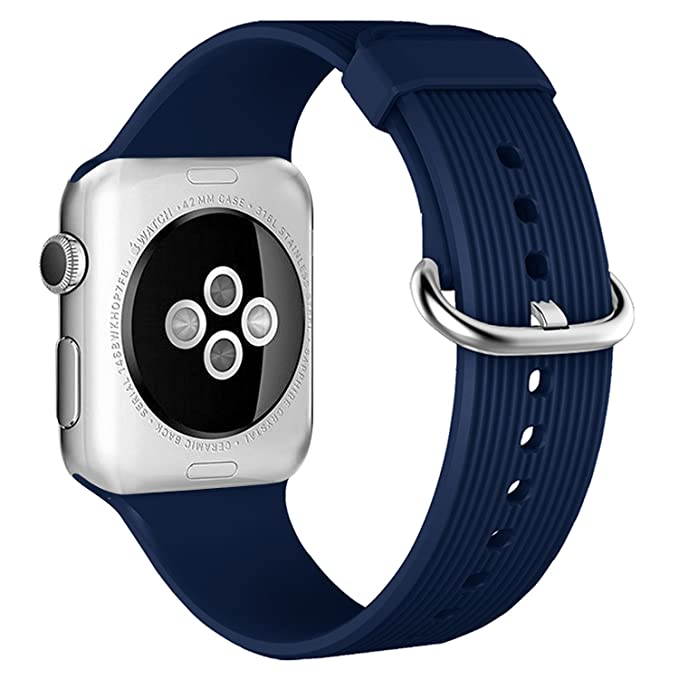 Apple Watch Sport Band 38mm/42mm,Soft Silicone Replacement Strap with Black/Rose Gold Clasp Women Men for iWatch Series 3 Series 2 Series 1