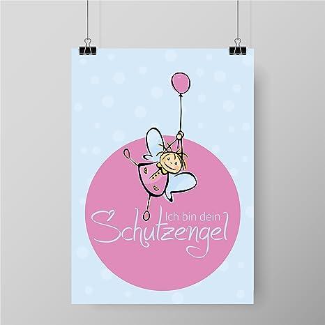 Kinderposter fürs Kinderzimmer | Motiv: Ich Bin Dein Schutzengel | Poster  A4 | Kunstdruck Wand-Dekoration für Den Bilderrahmen | Redewendung Zitat |  ...
