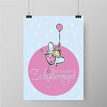 Kinderposter fürs Kinderzimmer | Motiv: Ich Bin Dein Schutzengel ...