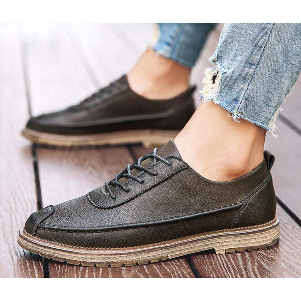zxcvb Mens Casual Shoes Large Size Leather Breathable Mens Casual Shoes Mens Leather Shoes Color : Black, Size : 40 EU