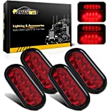 Partsam 4PCS 6 inch Oval Rubber Mount Sealed 10 LED Red Stop Turn Tail Brake Light w/Grommet