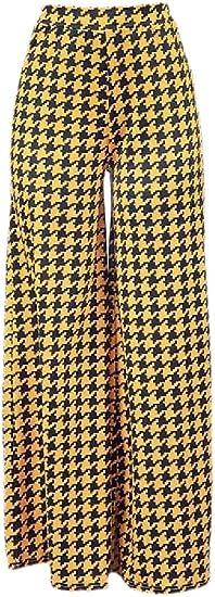 Fly Year-JP レディースファッションハイウエストハウンズトゥースプリントワイドレッグパラッツォパンツ