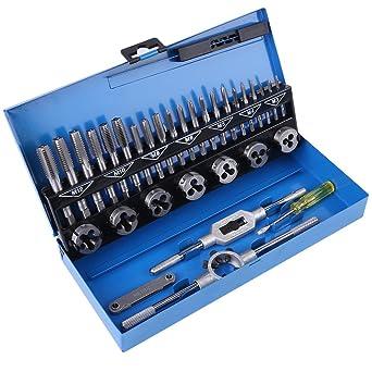 Juego de llaves juego de llaves y dados acero aleado 32 piezas M3-M12 Juego de roscado y troquel de acero aleado con llave y herramientas manuales