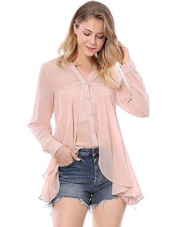 08ba93da494 Allegra K Women s V Neck Layered Chiffon Swing Top Blouse w Tube Top Pink  XS (