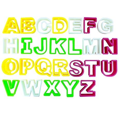 Kurtzy 26 Piezas Cortador de Galletas Letras - Plástico Galletas Formas Letras Incluyen las Letras A-Z