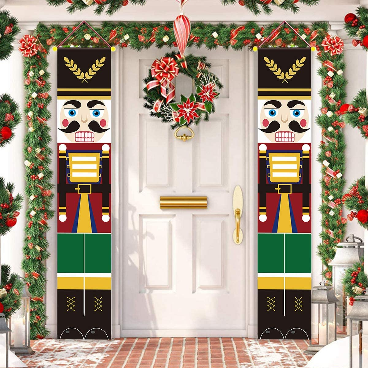 ALLODUCK Nutcracker Christmas Decorations - Life Size Nutcracker Soldier Porch Signs -Xmas Hanging Banners Sign for Outdoor Home Wall Door Office Garage Apartment Holiday Party Decoration