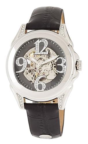 Carlo Monti CM801-122 - Reloj analógico de mujer automático con correa de piel negra - sumergible a 30 metros: Amazon.es: Relojes