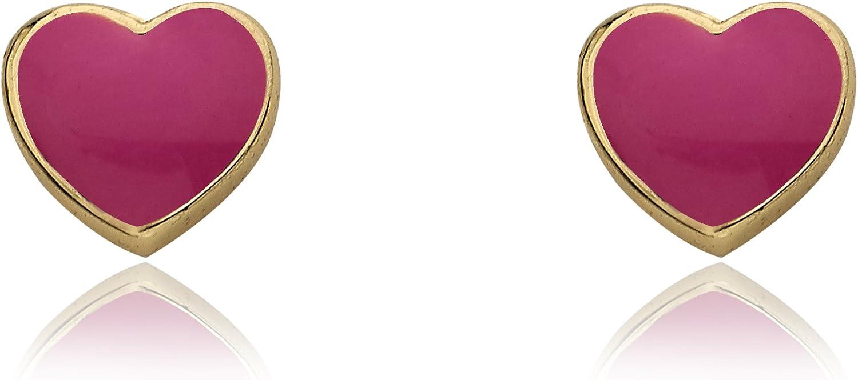 """Little Miss Twin Stars Girls' """"I Love My Jewels"""" 14k Gold-Plated Enamel Heart Stud Earrings"""