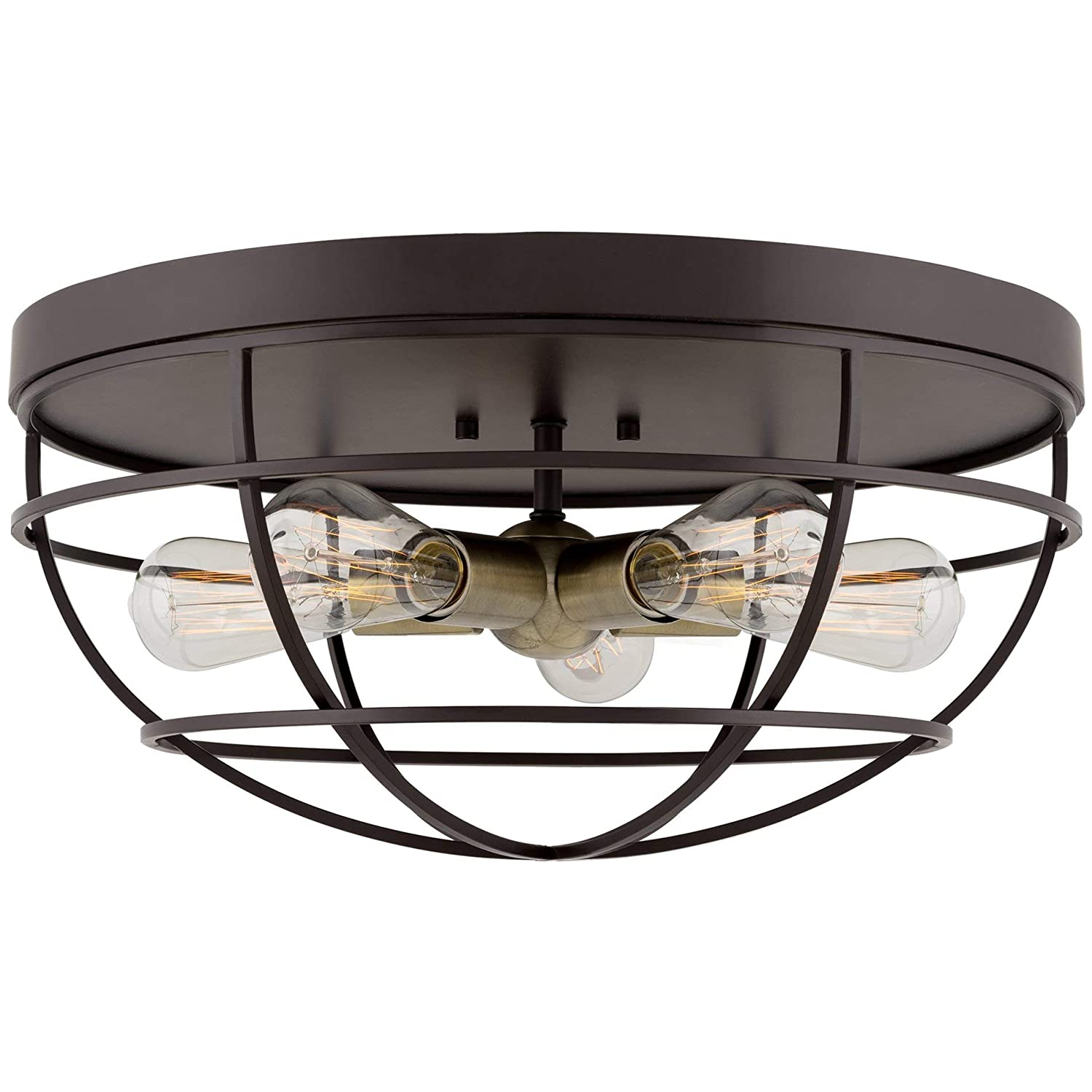 """Kira Home Gage 18"""" Industrial Farmhouse 5-Light Cage Flush Mount Ceiling Light, Antique Brass Sockets, Oil Rubbed Bronze Finish"""