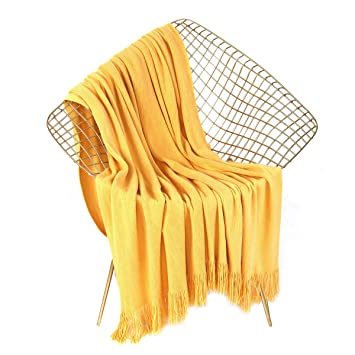 "Leevan Luxury Super Soft Throw Blanket Lightweight Cozy & Warm Acrylic Blanket With Decorative Tassels For Couch Sofa Bed Travel All Seasons Daily Use (Yellow, 51"" X 67"") by Leevan"