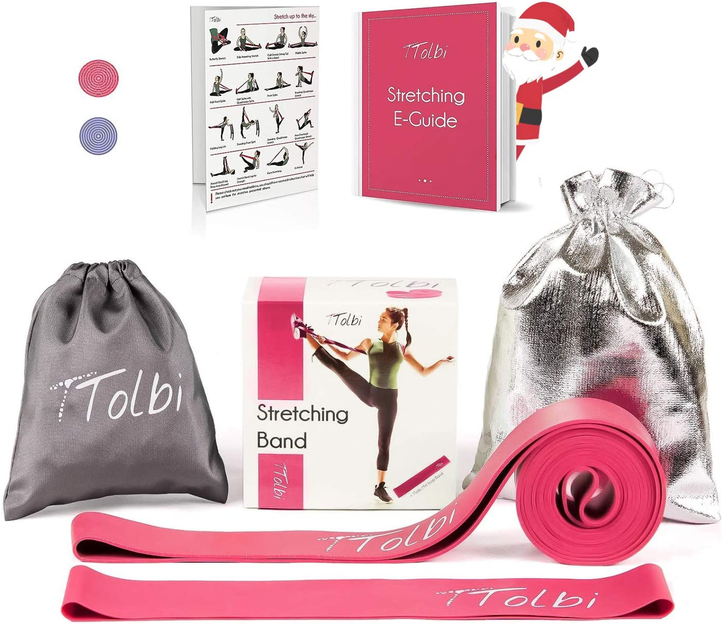 TTolbi Stretch Bands for Dancers, Ballerinas and Gymnasts | Dance Stretch Bands for Flexibility, Mobility and Strength | Shiny Bag, Travel Bag | Printed Stretches | Stretching E-Guide (Pink Regular) : Sports & Outdoors