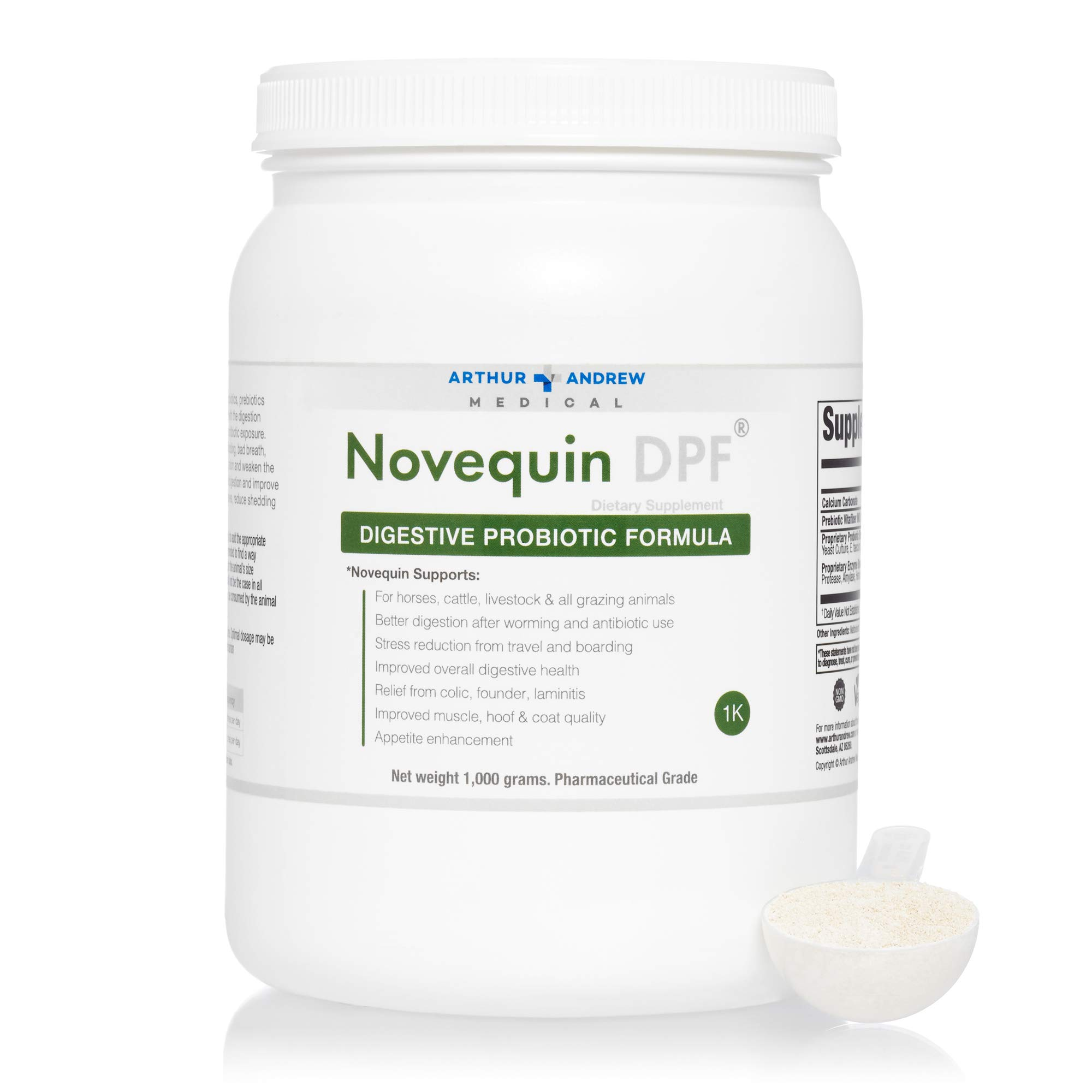 Arthur Andrew Medical - Novequin DPF, Digestive Probiotic Formula for Large Animals, Prebiotics, Probiotics, and Enzymes, Non-GMO, 1000 Grams by Arthur Andrew Medical