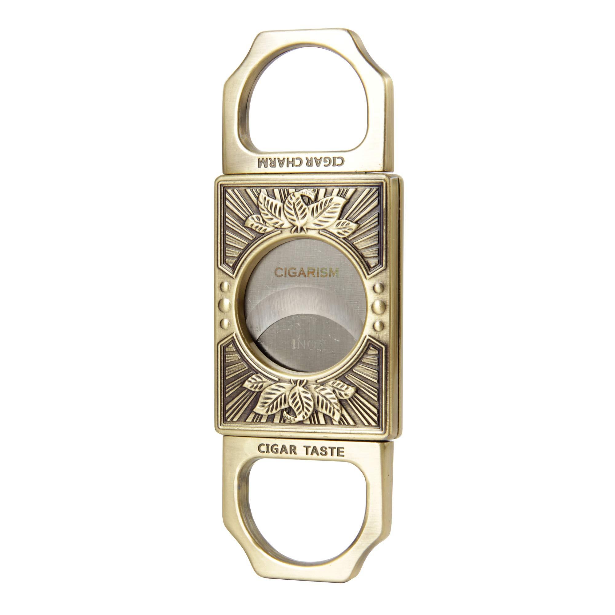 CIGARISM Leaves Engraving Zinc Alloy Cigar Cutter (Vintage Brass)